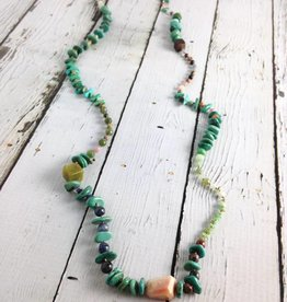 """Handmade Sterling Silver Necklace with mixed turquoise, jasper, mukite square, chrysoprase knotted on natural silk 33"""""""