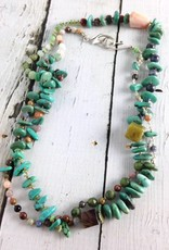 Handmade Sterling Silver Necklace with mixed turquoise, jasper, mukite square, chrysoprase knotted on natural silk 33""