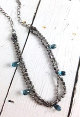 Handmade Sterling Silver Necklace with 1/2 double strand: 5 london blue briolettes, small oxidized silver squares/ large oxidized silver squares knotted on grey silk