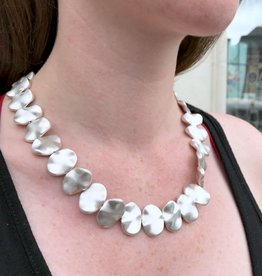 Sterling Silver Matte Pure Silver Moons Necklace
