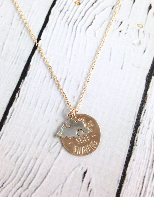 Handstamped GF Behind the Clouds Necklace with Sterling Cloud Charm