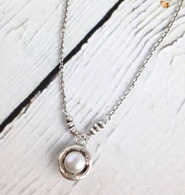 """6mm Silver Grey Pearl in sterling cup on oxidized sterling chain necklace, 18""""+"""