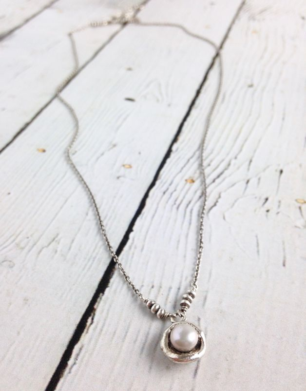 6MM Silver Grey Pearl in Sterling Cup on Oxidized Sterling Chain Necklace