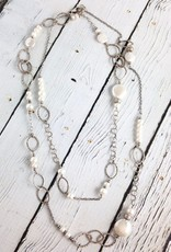 """Handmade Long (40"""") hammered sterling and white pearl necklace"""