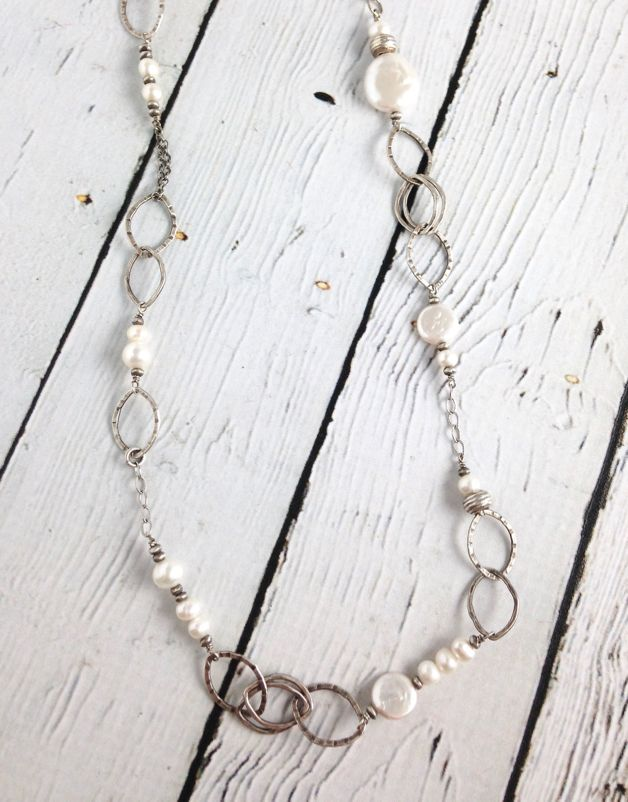 Handmade Long Hammered Sterling and White Pearl Necklace