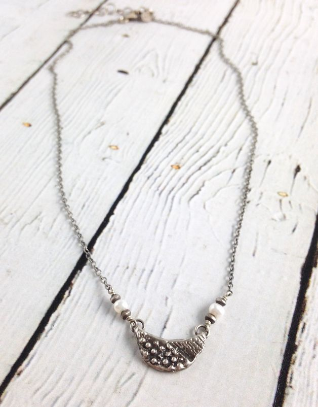 Sterling Crescent and Pearl Necklace
