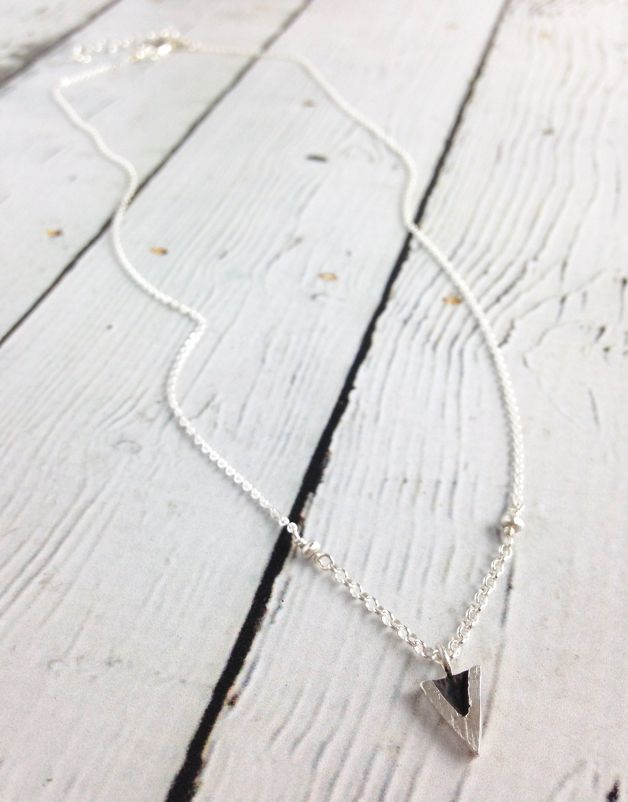 Handmade Oxidized Sterling V Necklace