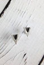 Handmade Oxidized Sterling V post earrings