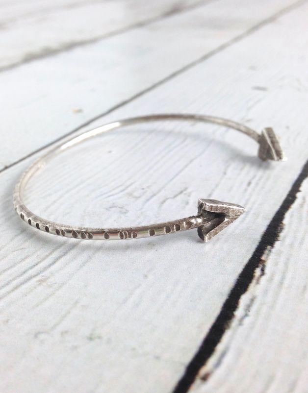 Handmade Oxidized Sterling V Bangle Bracelet