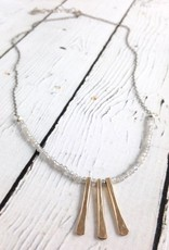 Three Hammered 14kt goldfilled bar with 4mm faceted labradorite necklace on sterling oxidized chain