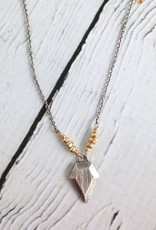 "Hand Carved sterling silver geometric pendant on vermeil and oxidized sterling chain neckalce, 18""+"
