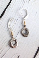 Sterling Silver Faceted Open Shape with Vermeil Accent Earrings