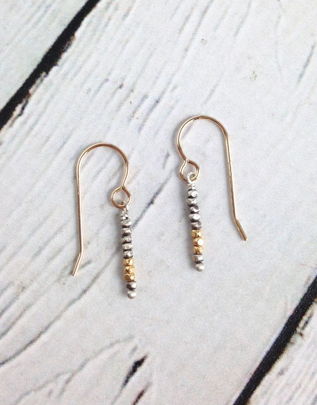 Oxidized Sterling Bead with Gold Vermeil Accent Earrings