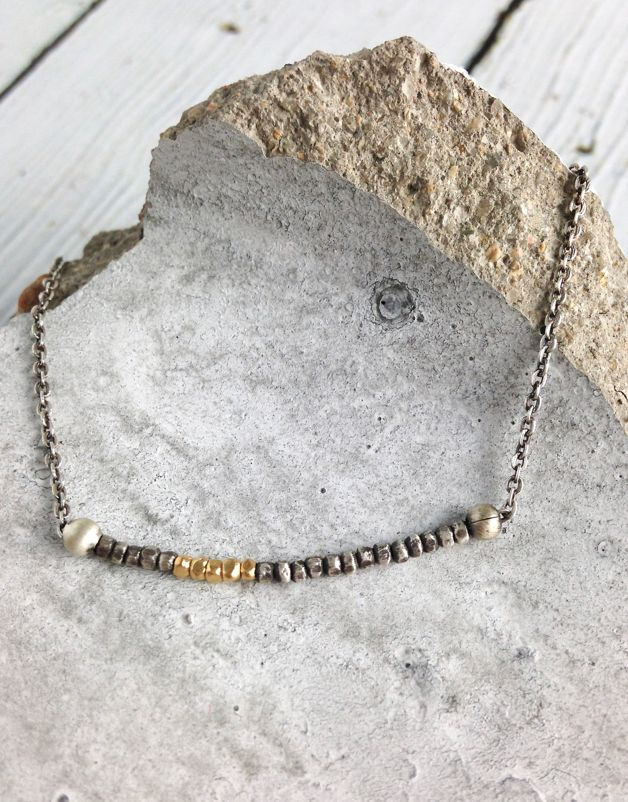 Sterling Silver and Vermeil Bead Bracelet