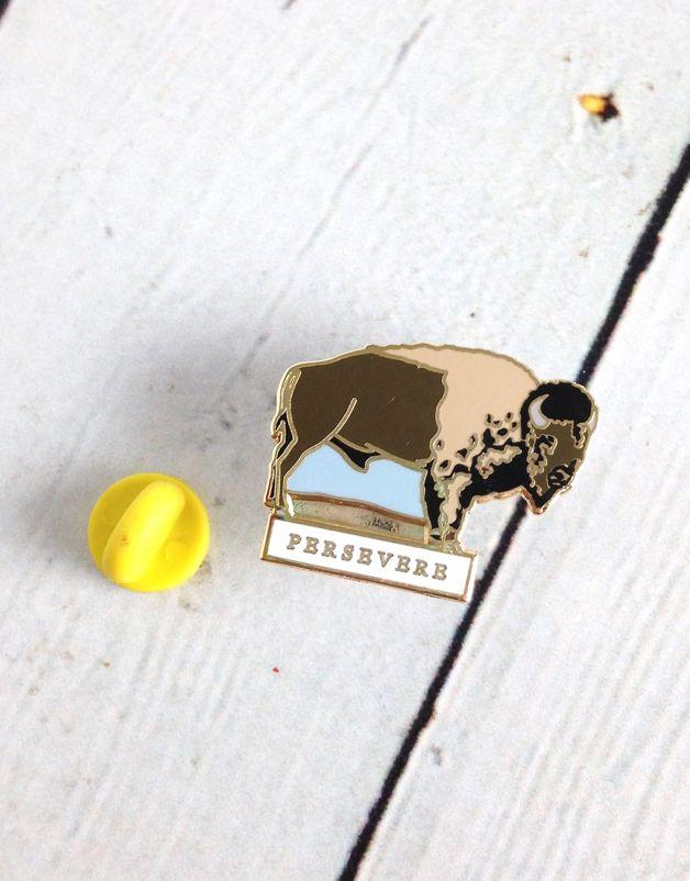 Persevere Buffalo Enamel Pin