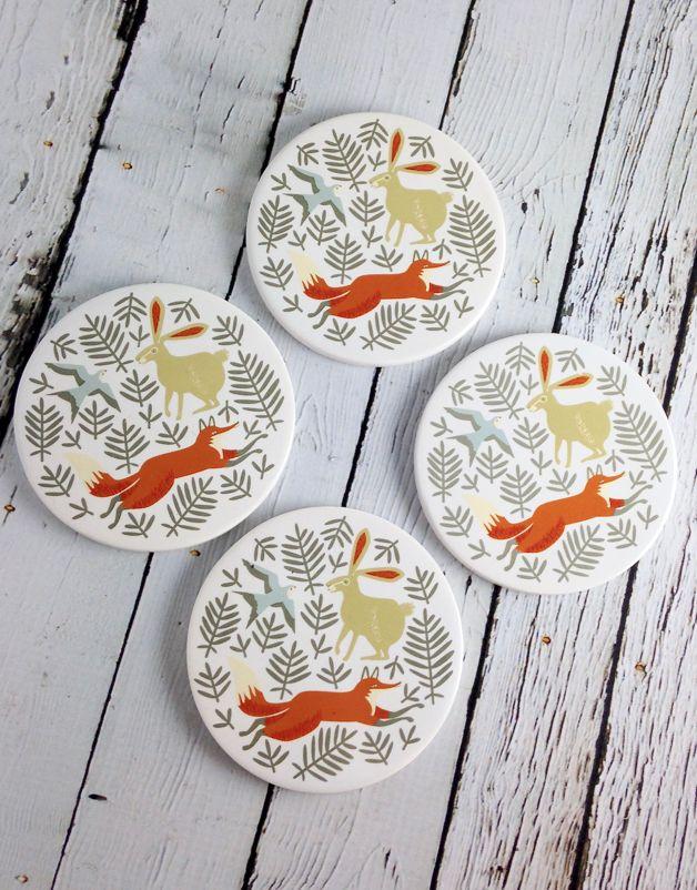 Hill and Dale Ceramic Coasters Set/4