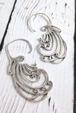 Silver Swirly Fan Earrings