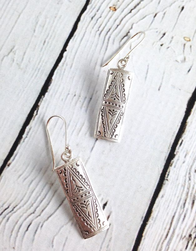 Hill Tribe Stamped Silver Long Rectangle Earrings