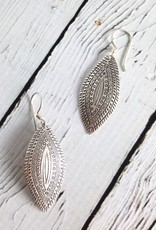 Hill Tribe Silver Stamped Pointed Oval Earrings