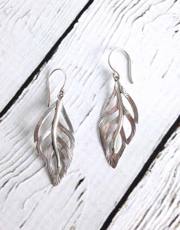 Silver Wavy Leaf Earrings