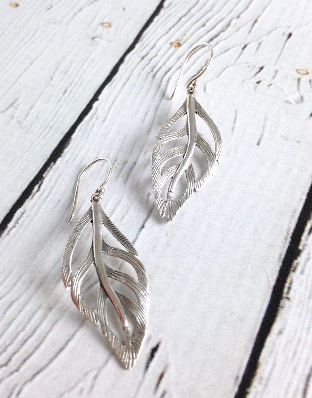 Silver Wavy Leaf Earrings