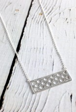 "Sterling Silver 18"" Criss Cross Pattern Necklace"