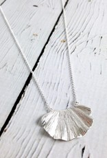 Sterling Silver Wavy Textures Leaf Necklace