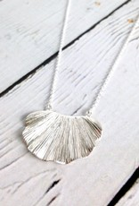 "Sterling Silver 20"" Wavy Textures Leaf Necklace"