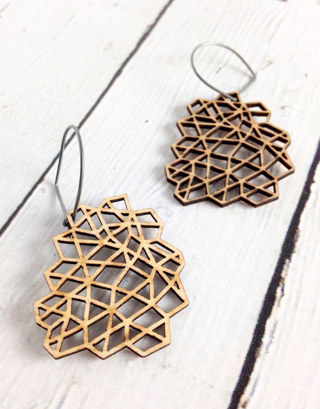 Mesh 1 Wood Earrings by Molly M. Designs