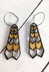 Plume Black/Gold Stained Birch Earrings by Molly M. Designs
