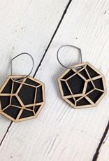 Pentahedron Birch Veneer Earrings by Molly M. Designs