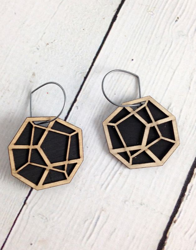 Pentahedron Birch Veneer Earrings by Molly M. Designs