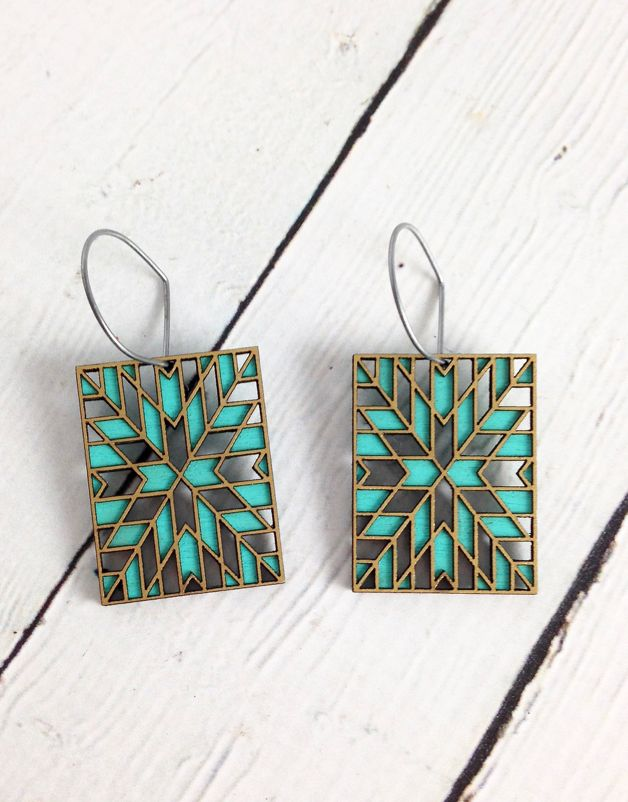 Emanate 1 Color Stained Birch Earrings by Molly M. Designs