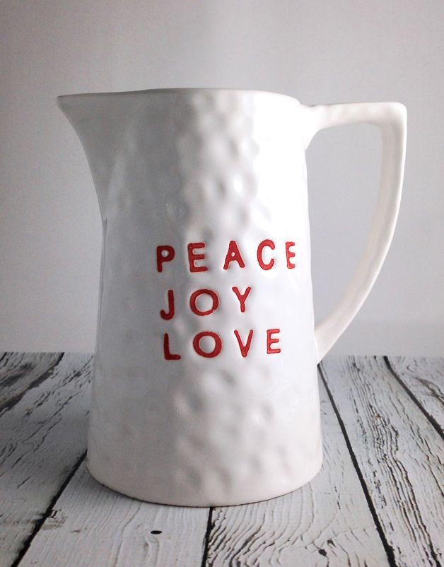 "Stoneware ""Peace, Joy, Love"" Pitcher"
