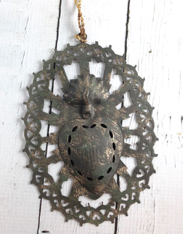 Metal Sacred Heart Ornament.