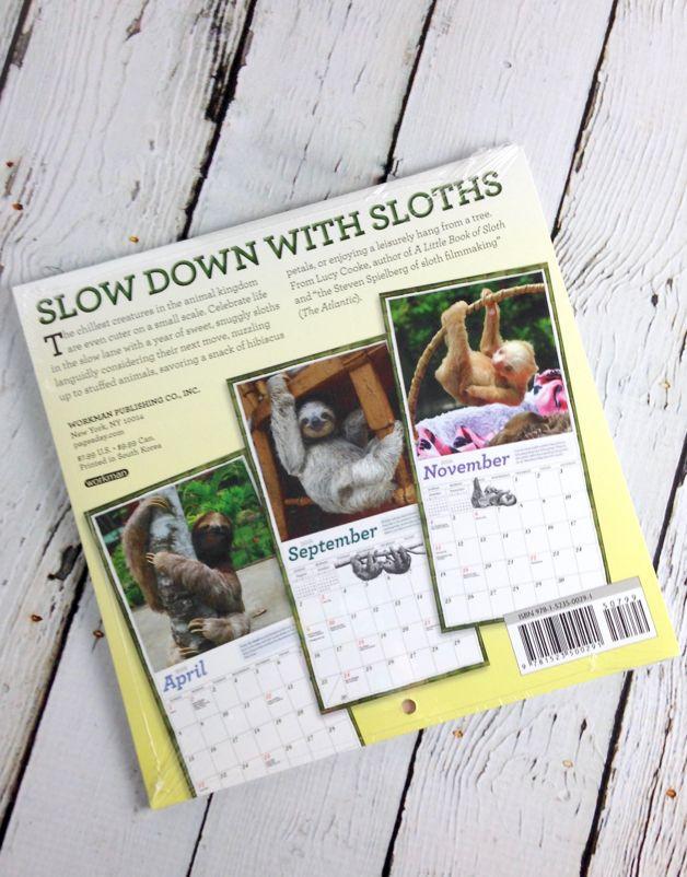 Sloths 2018 Mini Calendar
