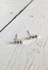 Recycled Sterling Silver GRL PWR Stud Earrings by Indiana maker No Kitchen Sink