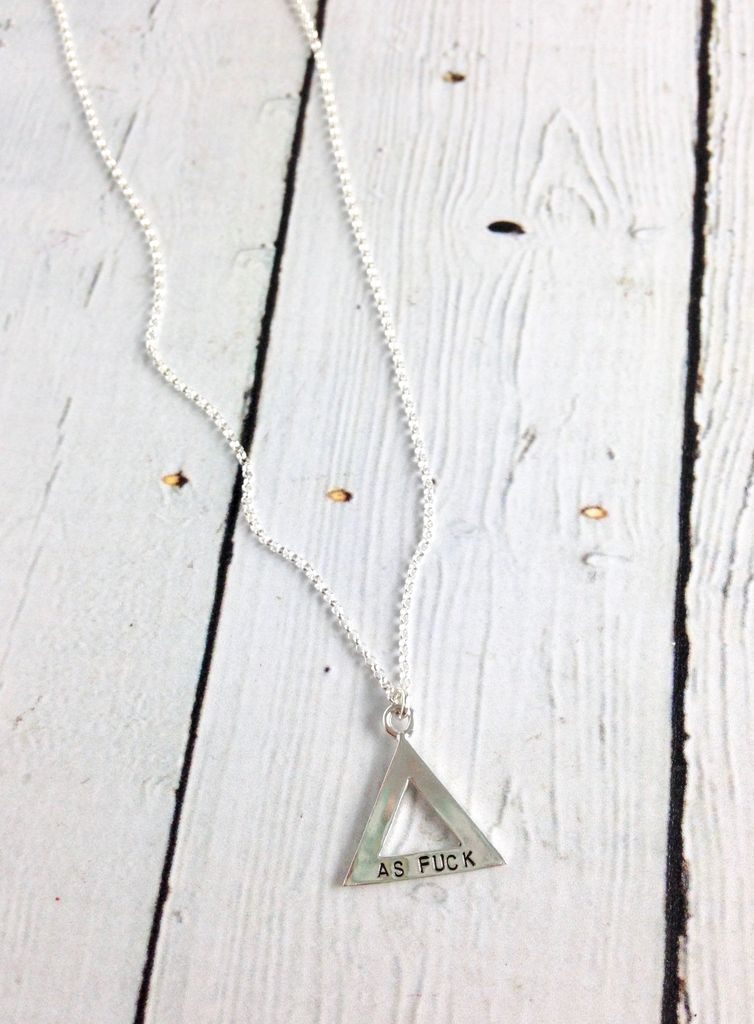 Recycled Sterling Silver FEMINIST / AF Double-sided stamped Necklace by Indiana maker No Kitchen Sink