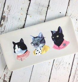 Cat Portraits Large Porcelain Tray