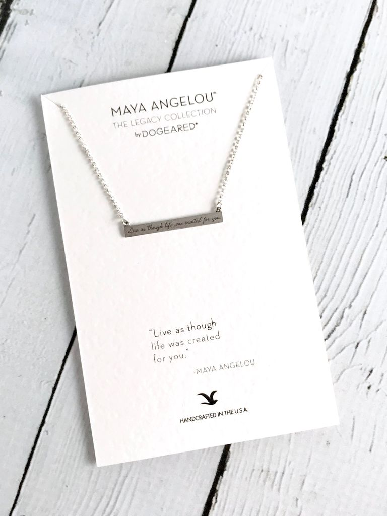 "Handmade Maya Angelou ""live as though life was created for you"" Necklace"
