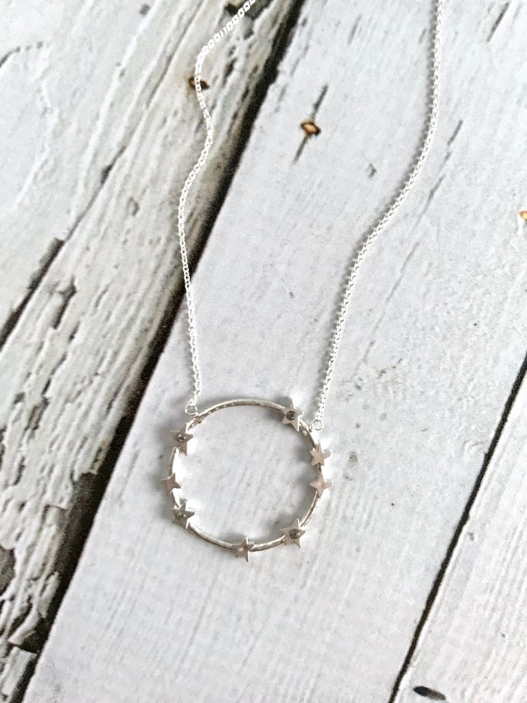 Handmade Infinity  + 1,  Large Crystal Halo Necklace