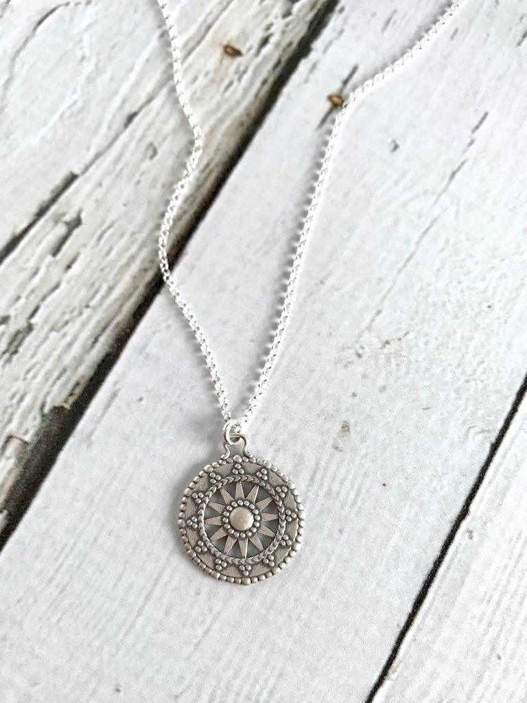 Handmade Light Your Own Way Sun Salutation Coin Charm Necklace