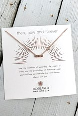 "Handmade Rose Gold ""Then, Now, Forever"" Small Bar with 3 Crystals Necklace"