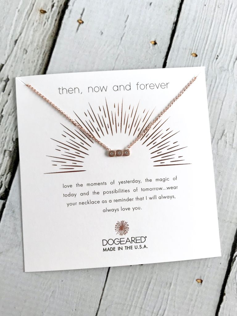 Handmade Rose Gold Then, Now, Forever, Small Bar with 3 Crystals Necklace