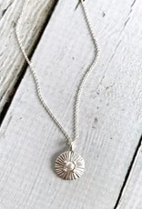 Handmade Sterling Silver Amazing Mom Radiant Glass Pearl Disc Necklace