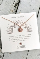 Handmade Rose Gold Amazing Mom Radiant Glass Pearl Disc Necklace