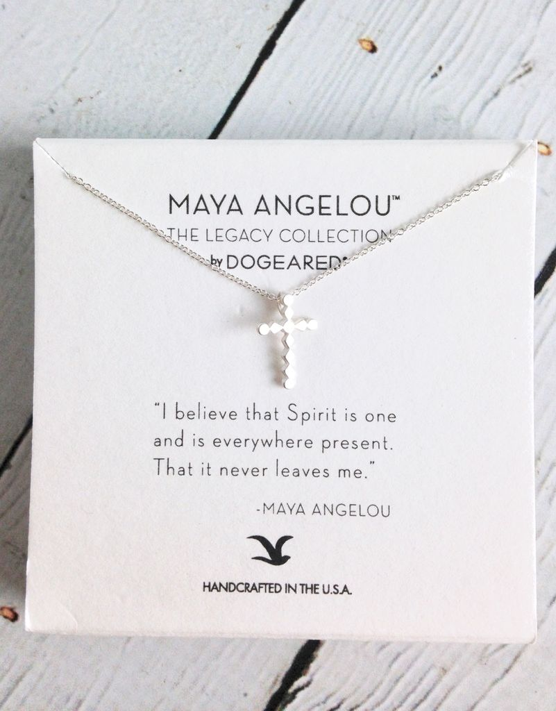 """Handmade Cross Necklace with Maya Angelou quote, """"I believe that spirit is…"""""""
