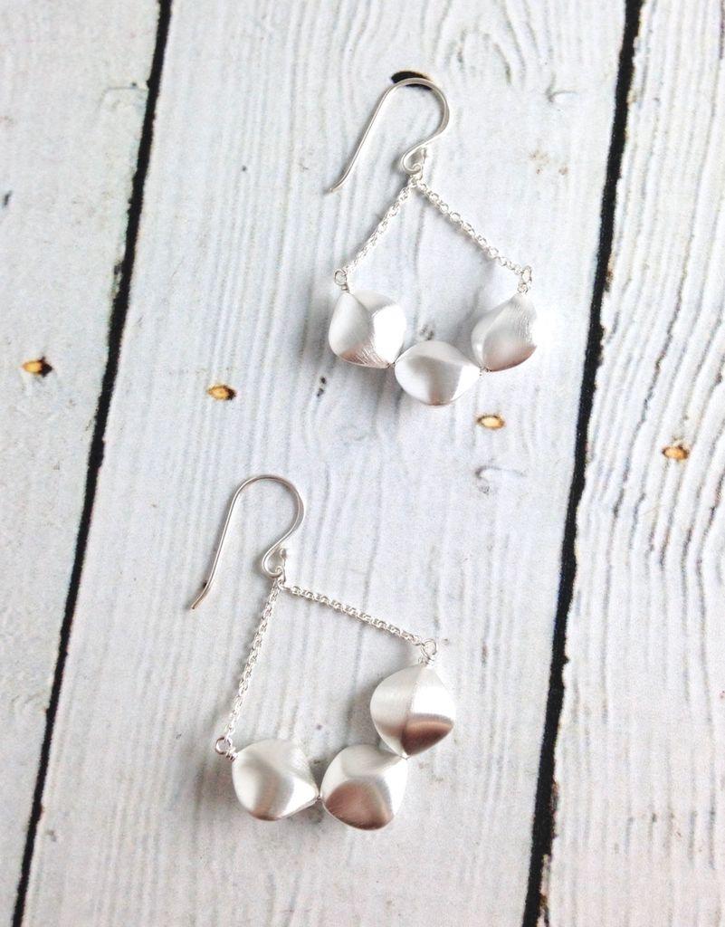 Matte Sterling Silver Twisted Pebble Chandelier Earrings