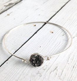 Glimmer Bangle Bracelet with Black Druzy