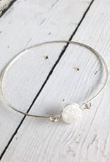 Glimmer Bangle Bracelet with White Druzy